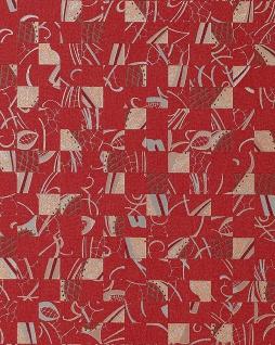 Stein Tapete EDEM 745-25 Tapete Mystic Arts Collage abstraktes Mosaik-muster hochwertige Prägequalität Rot silber platin