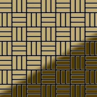 Mosaik Fliese massiv Metall Titan hochglänzend in gold 1, 6mm stark ALLOY Basketweave-Ti-GM 0, 82 m2