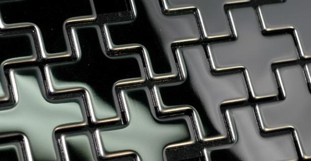 Mosaik Fliese massiv Metall Edelstahl hochglänzend in grau 1, 6mm stark ALLOY Swiss Cross-S-S-M 0, 88 m2 - Vorschau 5