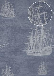 Grafik Tapete Atlas SIG-584-3 Vliestapete glatt im maritimen Design und metallischen Akzenten blau tauben-blau silber-grau 5, 33 m2