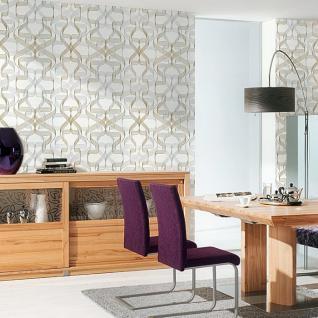 Grafik-Tapete EDEM 507-20 Designer Tapete strukturiert mit abstraktem Muster und metallischen Akzenten signal-weiß perl-gold silber 5, 33 m2