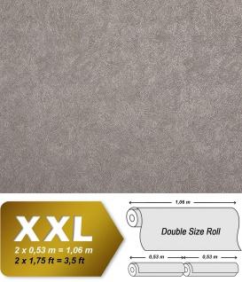 Uni Tapete EDEM 9009-24 Vliestapete geprägt mit abstraktem Muster glänzend grau silber 10, 65 m2
