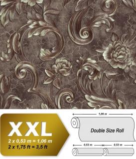 Blumen Tapete EDEM 9013-36 heißgeprägte Vliestapete geprägt mit floralen Ornamenten und metallischen Akzenten anthrazit braun-grau bronze silber 10, 65 m2