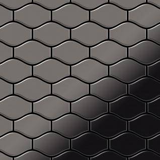 Mosaik Fliese massiv Metall Titan hochglänzend in dunkelgrau 1, 6mm stark ALLOY Karma-Ti-SM Designed by Karim Rashid 0, 86 m2