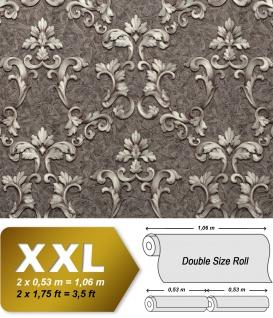 Barock Tapete EDEM 9085-29 heißgeprägte Vliestapete geprägt mit floralen 3D Ornamenten schimmernd grau silber platin 10, 65 m2