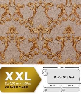 Barock Tapete EDEM 9085-26 heißgeprägte Vliestapete geprägt mit floralen 3D Ornamenten schimmernd beige grau-beige sand-gelb gold 10, 65 m2