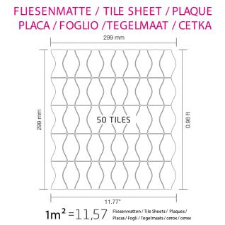 Mosaik Fliese massiv Metall Edelstahl marine gebürstet in grau 1, 6mm stark ALLOY Kismet & Karma-S-S-MB Designed by Karim Rashid 0, 86 m2 - Vorschau 5