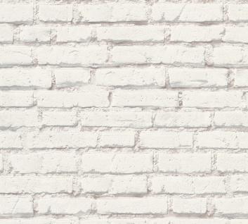 Stein Kacheln Tapete Profhome 319431-GU Vliestapete glatt in Steinoptik matt weiß grau 5, 33 m2