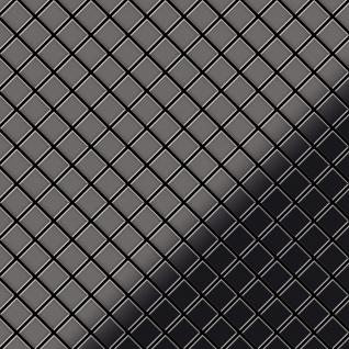 Mosaik Fliese massiv Metall Titan hochglänzend in dunkelgrau 1, 6mm stark ALLOY Diamond-Ti-SM 0, 91 m2