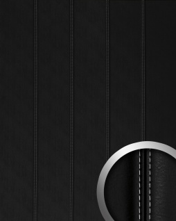 Wandpaneel Leder Design Echtnaht WallFace 15251 LEATHER NERO ZN weiß Wandplatte selbstklebend schwarz matt | 2, 60 qm