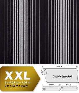 Streifen Tapete Vliestapete EDEM 973-39 XXL Designer Tapete gestreifte Objekttapete schwarz silber-grau 10, 65 qm