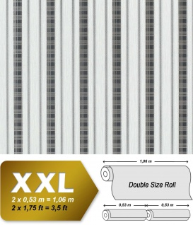 Streifen Tapete Vliestapete EDEM 640-96 Textilstruktur mit Karomuster XXL Tapete hell-grau anthrazit silber 10, 65 qm