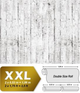 Holz Tapete EDEM 81108BR05 heißgeprägte Vliestapete leicht strukturiert im Shabby Chic Stil matt weiß grau braun 10, 65 m2