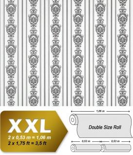 3D Barock Tapete Streifen XXL Vliestapete EDEM 660-90 Elegantes Barockmuster Textil-Optik schwarz weiß 10, 65 m2