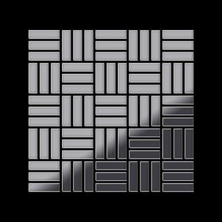 Mosaik Fliese massiv Metall Edelstahl hochglänzend in grau 1, 6mm stark ALLOY Basketweave-S-S-M 0, 82 m2 - Vorschau 3