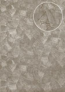 Präge Tapete Atlas STI-5102-3 Vliestapete geprägt in Lederoptik schimmernd silber perl-hell-grau weiß-aluminium 7, 035 m2