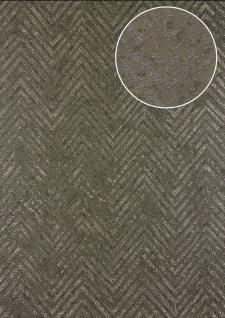 Streifen Tapete Atlas 24C-5055-5 Vliestapete strukturiert mit Chevron Muster und metallischen Akzenten braun khaki-grau bronze 7, 035 m2
