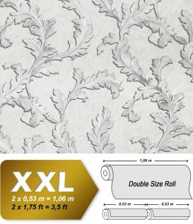 Blumen Tapete EDEM 9010-37 Vliestapete geprägt im Barock-Stil glänzend creme weiß silber 10, 65 m2