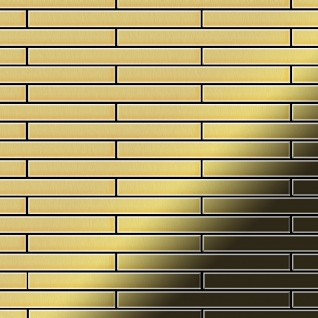 Mosaik Fliese massiv Metall Messing gewalzt in gold 1, 6mm stark ALLOY Avenue-BM 0, 74 m2