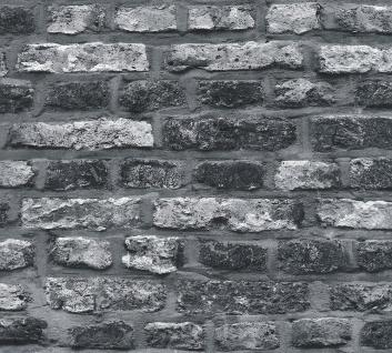 Stein Kacheln Tapete Profhome 362812-GU Vliestapete glatt in Steinoptik matt grau schwarz 5, 33 m2