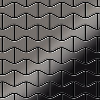 Mosaik Fliese massiv Metall Titan hochglänzend in dunkelgrau 1, 6mm stark ALLOY Kismet-Ti-SM Designed by Karim Rashid 0, 86 m2