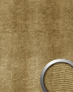 Wandverkleidung Leder Optik WallFace 19778 Antigrav LEGUAN Gold Wandpaneel glatt in Leguanleder Optik matt gold 2, 6 m2