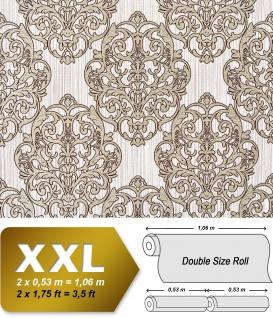 3D Barock Tapete XXL Vliestapete EDEM 648-93 Prunkvolles Damast-Muster braun creme bronze dezente glitzer 10, 65 m2
