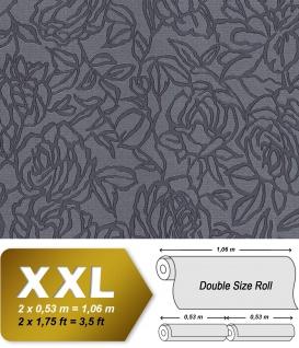 Blumen Tapete EDEM 9040-27 heißgeprägte Vliestapete geprägt mit floralem Muster glänzend anthrazit grau 10, 65 m2