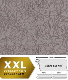 Blumen Tapete EDEM 9040-22 heißgeprägte Vliestapete geprägt mit floralem Muster glänzend grau braun 10, 65 m2