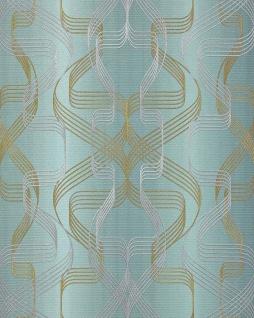 Grafik-Tapete EDEM 507-25 Designer Tapete strukturiert mit abstraktem Muster und metallischen Akzenten petrol perl-gold silber 5, 33 m2