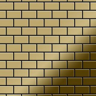 Mosaik Fliese massiv Metall Titan hochglänzend in gold 1, 6mm stark ALLOY House-Ti-GM 0, 98 m2