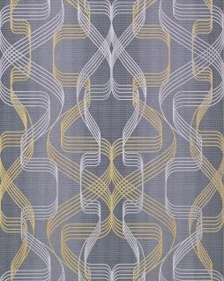 Grafik-Tapete EDEM 507-26 Designer Tapete strukturiert mit abstraktem Muster und metallischen Akzenten basalt-grau perl-gold silber 5, 33 m2