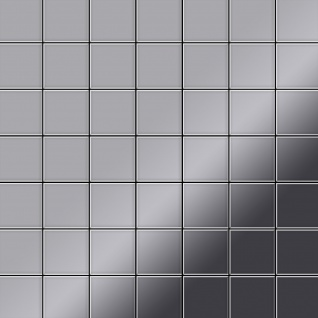 Mosaik Fliese massiv Metall Edelstahl marine hochglänzend in grau 1, 6mm stark ALLOY Attica-S-S-MM 0, 85 m2