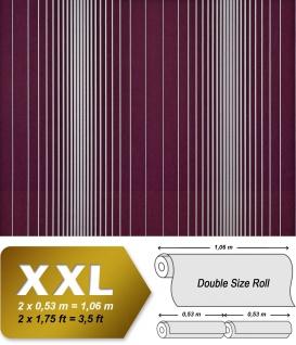 Streifen Tapete XXL Vliestapete EDEM 934-35 Hochwertige heißgeprägte Struktur Metallic Effekt aubergine lila violett silber platin metallic 10, 65 m2