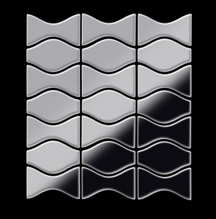 Mosaik Fliese massiv Metall Edelstahl hochglänzend in grau 1, 6mm stark ALLOY Kismet & Karma-S-S-M Designed by Karim Rashid 0, 86 m2 - Vorschau 3