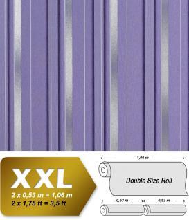 Streifen Tapete Vliestapete EDEM 602-92 XXL Designer Tapete 3D 70er Streifen-Muster retro hell-lila silber grau 10, 65 qm