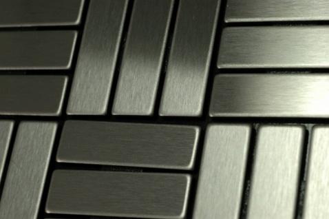 Mosaik Fliese massiv Metall Edelstahl gebürstet in grau 1, 6mm stark ALLOY Basketweave-S-S-B 0, 82 m2 - Vorschau 5
