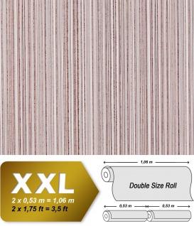 Streifen Vliestapete EDEM 673-93 XXL Kultige Designer Tapete braun kakao-braun weiß dezente silberne | 10, 65 qm