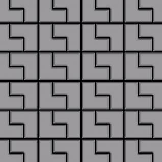 Mosaik Fliese massiv Metall Edelstahl matt in grau 1, 6mm stark ALLOY Kink-S-S-MA Designed by Karim Rashid 0, 93 m2