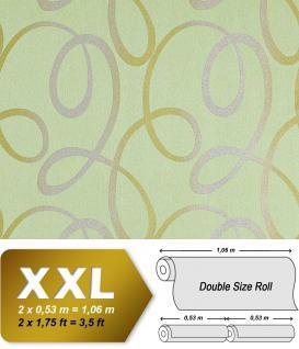 Grafik Tapete Vliestapete EDEM 694-95 70er Serpentine Muster Linien Glitzereffekt hell-grün silber olivgold 10, 65 qm