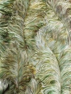 Exklusive Tapete Profhome 822203 Vinyltapete geprägt mit Federn glänzend grün laub-grün gold braun-grün 5, 33 m2