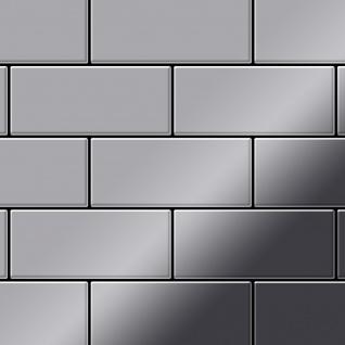 Mosaik Fliese massiv Metall Edelstahl marine hochglänzend in grau 1, 6mm stark ALLOY Subway-S-S-MM 0, 58 m2 - Vorschau 1