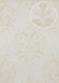 Barock Tapete Atlas ATT-5082-3 Luxus Vliestapete geprägt mit floralen Ornamenten glänzend creme hell-elfenbein weiß 7, 035 m2