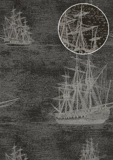 Grafik Tapete Atlas SIG-584-2 Vliestapete glatt im maritimen Design und metallischen Akzenten anthrazit blau-grau silber gold 5, 33 m2