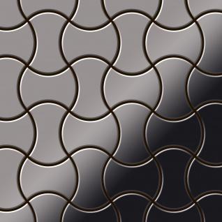 Mosaik Fliese massiv Metall Titan hochglänzend in dunkelgrau 1, 6mm stark ALLOY Infinit-Ti-SM Designed by Karim Rashid 0, 91 m2