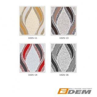 Grafische Tapete EDEM 1025-16 Buntsteinputz geschwungene Linien mit Ornamenten hellgrau schwarz silber - Vorschau 4