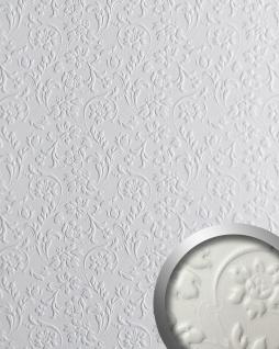 3D Wandpaneel WallFace 13473 FLORAL Luxus Leder Dekor Barock Blumen selbstklebende Tapete Wandverkleidung weiß | 2, 60 qm
