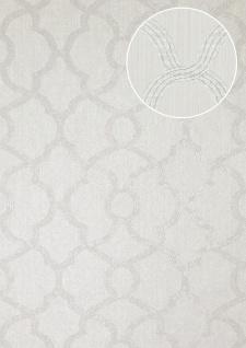 Exklusive Luxus Tapete Atlas PRI-557-8 Vliestapete strukturiert mit Ornamenten glitzernd silber weiß-aluminium licht-grau seiden-grau 5, 33 m2