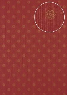 Barock Tapete Atlas PRI-550-6 Vliestapete glatt mit Ornamenten schimmernd rot gold bordeaux-violett wein-rot 5, 33 m2