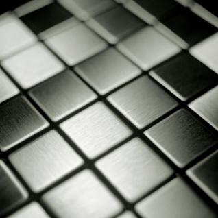 Mosaik Fliese massiv Metall Edelstahl gebürstet in grau 1, 6mm stark ALLOY Mosaic-S-S-B 1, 04 m2 - Vorschau 4